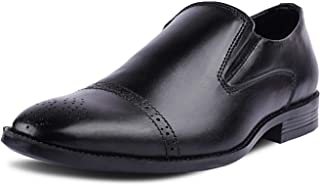 Kanprom Men's Black Genuine Leather Formal Moccasins Cap Toe Slip On Brogue Shoes