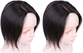 Silk Lace Base Human Hair Toupee Topper Hair Toppers for Women Clip In Human Hair Extension 130% Volume Hairpieces Natural Black,Brown lace (8.6 inches right part, natual black)
