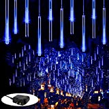 Zezuxy Rain Drop Lights Blue, Meteor Shower Lights 11.8 in 8 Tubes 144 LED Falling Rain Lights Outdoor Icicle Cascading Christmas String Lights Gifts for Wedding Party Xmas Tree Halloween Thanksgiving