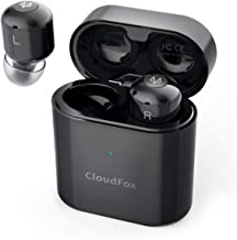 True Wireless Bluetooth Earbuds, CloudFox Bluetooth 5.0 Headphones with 30 Hours Playtime, One-Step Pairing Easy Control, Wireless Earbuds Stereo Sound Deep Bass, Built-in Mic and Sweatproof - Black