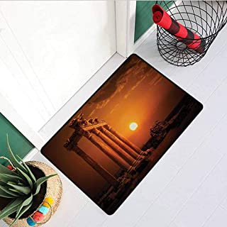 RelaxBear Ancient Inlet Outdoor Door mat Antique Ancient Style Rome Empire Monuments Columns Statues with Sun Picture Catch dust Snow and mud W15.7 x L23.6 Inch Orange and White