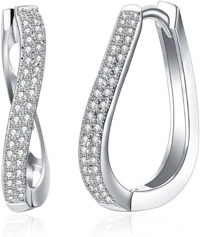 LSN Large discharge sale Earring 925 Sterling Silver Hypoallergenic Year-end gift H Curved Earrings