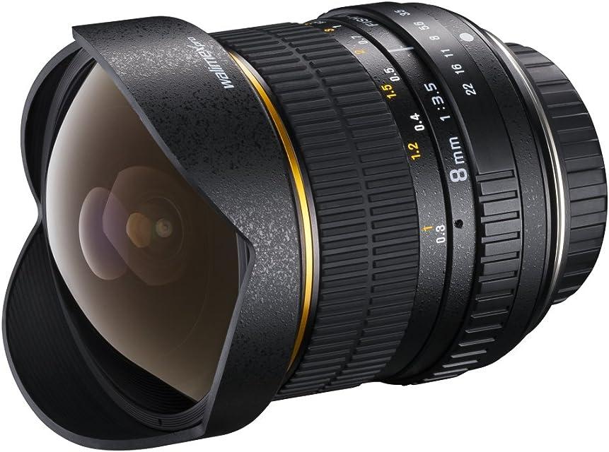 Walimex Pro AE lente ojo de pez 8mm de F35 DX para cámaras digitales Nikon (chip EXIF para la transferencia de datos) en negro