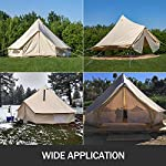 BuoQua Bell Tent Canvas Tent with Stove Hole Cotton Canvas Tents Yurt Tent for Camping 4-Season Waterproof Bell Tent for Family Camping Outdoor Hunting 9