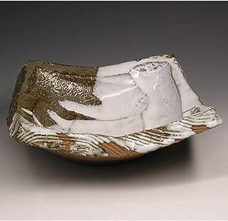 Japanese ceramic Hagi-ware. Kurinuki shiho square bowl. shuto24278