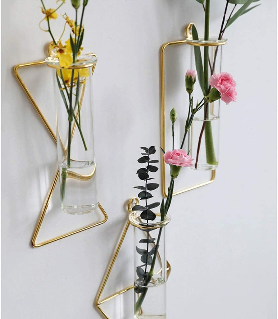 Mur d'or tenture Suspendu Vase métal Mur de Fond hydroponique lumière Salon Chambre de (Color : C) E