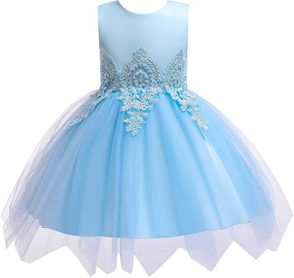 LuckyStar Flower Petals Girl Dress with Bow Tie for Special Occasion Wedding Party