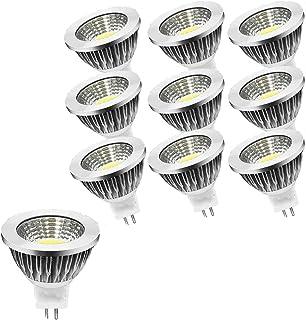 OUGEER 10 bombillas LED GU5.3 MR16 AC85 – 265 V, luz blanca fría, 6000 K, 6 W, 60 W, MR16, 6 W, casquillo GU5,3, sin parpadeo, 50 mm de diámetro, aluminio, no regulable