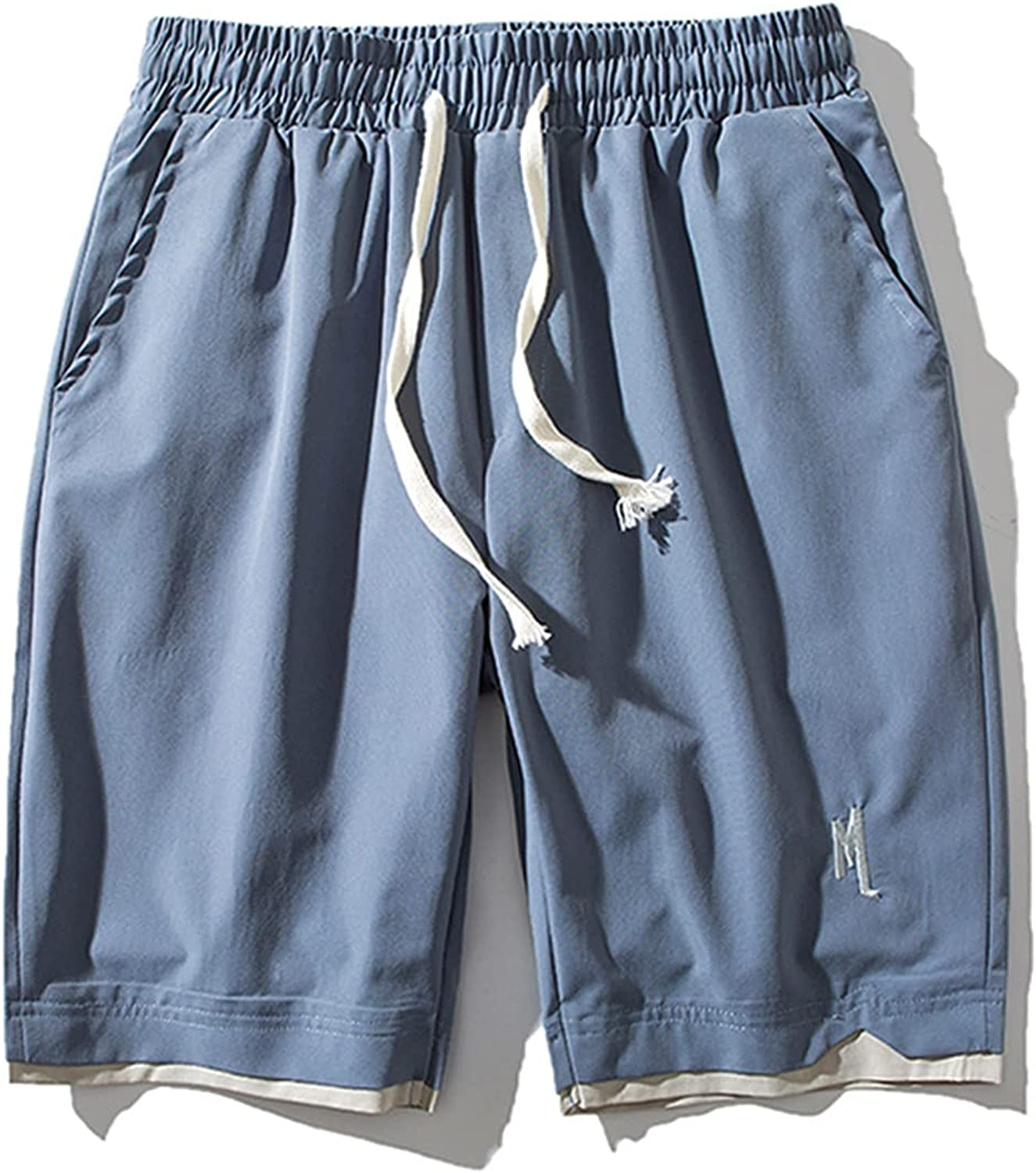 ZCAITIANYA Men's Shorts Beach Pants Casual Solid Color Summer Workout Drawstring Fit Elastic Waist with Pockets