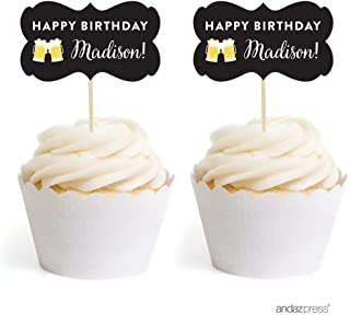 Andaz Press Personalized Birthday Cupcake Toppers DIY Party Favors Kit, Beer Mugs Cheers!, Double-Sided, 18-Pack, Custom Name