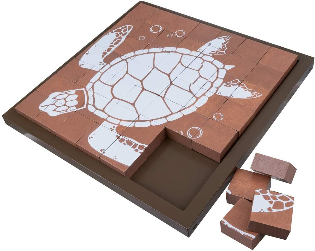 Sea Turtle Puzzle | Wooden Puzzle for Kids | Beach Decor | Coffe