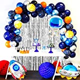 JOYYPOP Outer Space Balloon Garland Kit, 110pcs Outer Space Party Decorations with UFO Rocket Astronaut Balloons Silver Foil Curtain for Space Themed Birthday Party Supplies