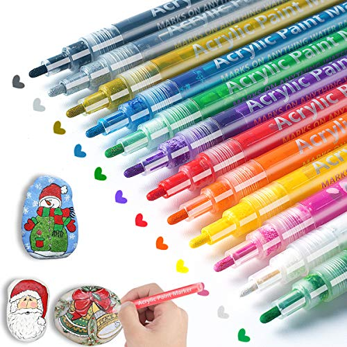 Paint Pens for Rock Painting, Stone, Ceramic, Glass, Wood, Canvas, Mugs, Arts and Crafts Greeting Cards Making. 12 Colors Acrylic Paint Pens Fine Point Kids Adults Christmas Craft Supplies