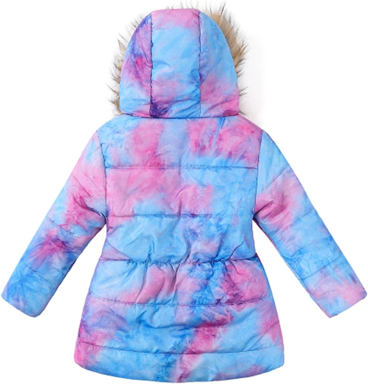 Little Girls Tie-Dye Jacket Coat Kids Long Sleeve Winter Warm Overcoats Thicken Hooded Zip Up Outerwear Casual Clothes