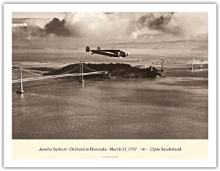 Pacifica Island Art Amelia Earhart - Oakland, California to Honolulu, Hawaii - March 17, 1937 - Lockheed Electra 10E - Vintage Aviation Poster by Clyde Sunderland - Fine Art Print - 20in x 26in