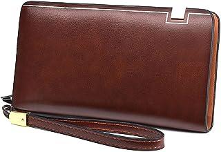 BeniNew men's long zip clutch bag wallet big capacity business handbag-Light Brown