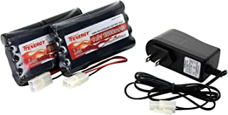 Tenergy 91031 9.6V Flat NiMH for RC Car, High Capacity 8-Cell 2000mAh Rechargeable, Replacement Hobby Pack with Standard Tamiya Connectors (2 Battery Packs + 1 Charger), Black