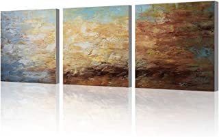 Abstract Wall Art 100% Hand Painted Modern Oil Painting on Canvas Large Framed Blue and Brown 3 Piece Artwork Ready to Hang for Living Room Bedroom Office Home Decoration 20x60inches