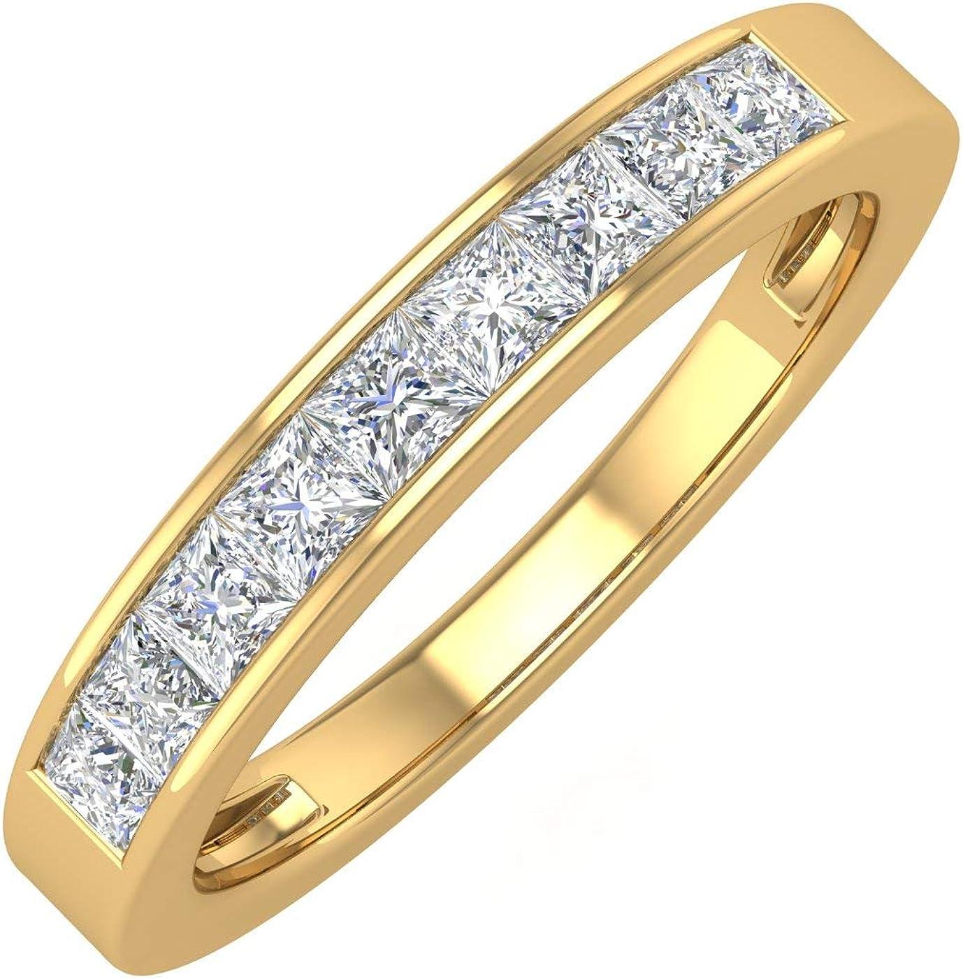 1/2 Carat Channel Set Princess Cut Diamond Wedding Band Ring in 14K Gold