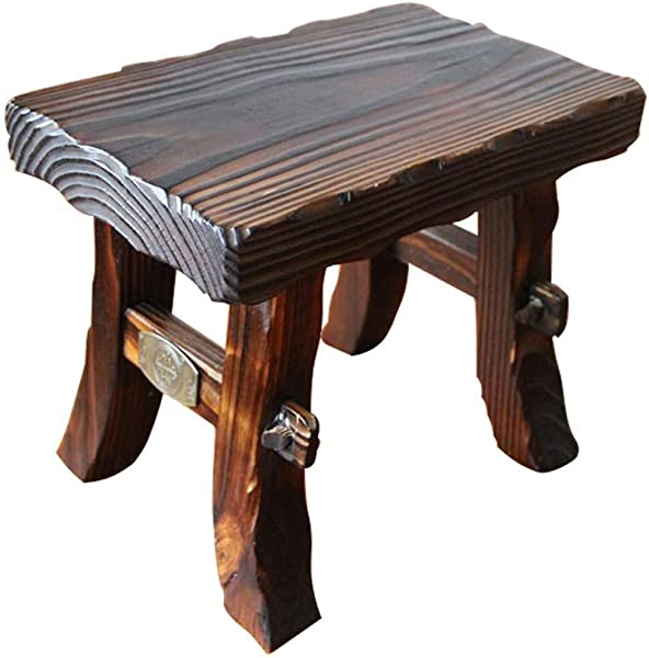 Carl Artbay Wooden Footstool Thickened Retro Wooden Bench Square Adult Children Small Bench Solid Wood Living Room Shoe Bench Anti Corrosion Waterproof Sunscreen More Physical Texture Home