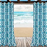 LORDTEX Moroccan Print Indoor/Outdoor Curtains for Patio, Pergola, Porch, Deck, Lanai, and Cabana - 2 Panels Waterproof Sun Light Blocking Grommet Top Curtain Panel, 52 x 84 Inch, Teal