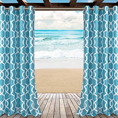 LORDTEX Moroccan Print Indoor/Outdoor Curtains for Patio, Pergola, Porch, Deck, Lanai, and Cabana - 2 Panels Waterproof...