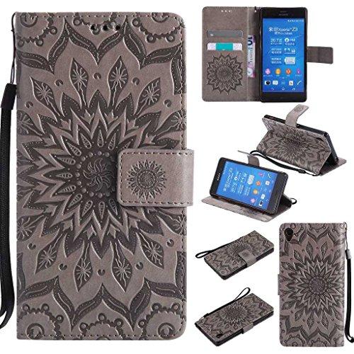 KKEIKO Cover Sony Xperia Z3, Sony Xperia Z3 Magnetico Portafoglio Custodia in PU Pelle, Fiore del Sole Design Antiurto Cover per Sony Xperia Z3 - Grigio