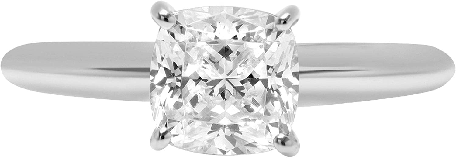 2 ct Brilliant Cushion Cut Flawless Stunning Genuine Clear Simulated Diamond Wedding Bridal Anniversary Engagement Promise Solid 18K White Gold Designer Proposal Solitaire Ring