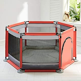 Hfyg Playpens Baby Playpen Portable Hexagonal Washable Safety Fence Crawl Play Area with Mat pens  Color Pink