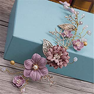 Trayosin Vintage flower wedding hair accessories gold purple series bridal tiara handmade bridal party wedding hair accessories (B)