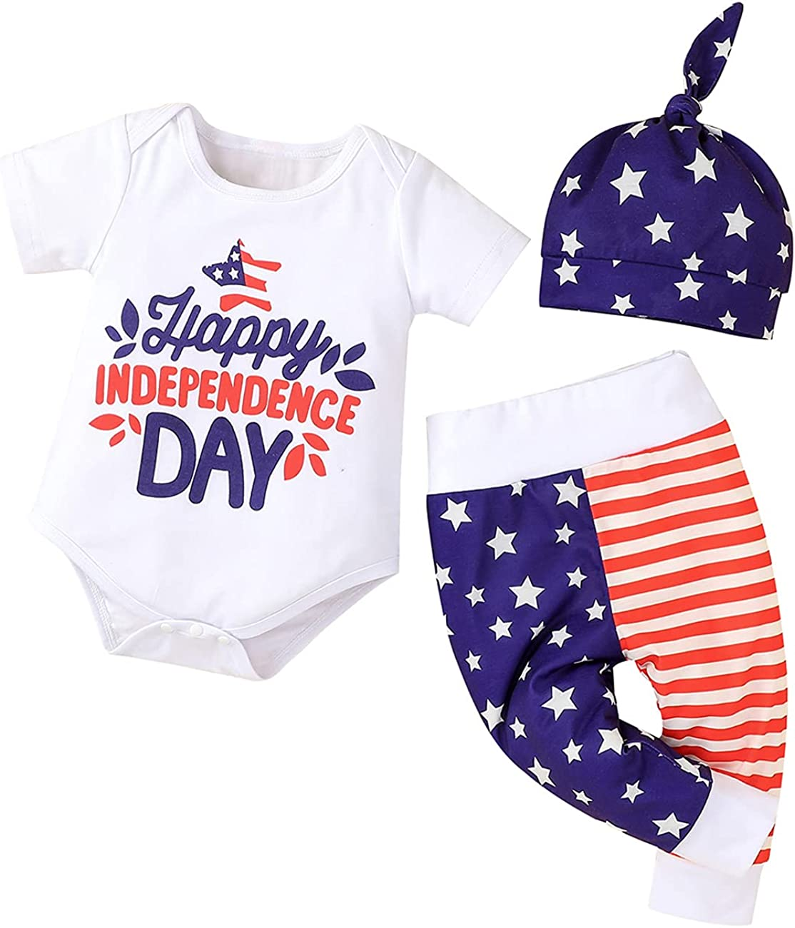 Newborn Baby Boy 4th of July Outfits Short Sleeve Romper American Flag Striped Long Pants+Hat
