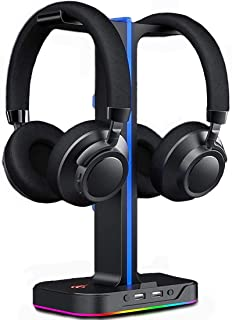 GameNote Gaming RGB Dual Headphone Stand Headset Stand 2 USB Port with Phone Holder and Cable Hook