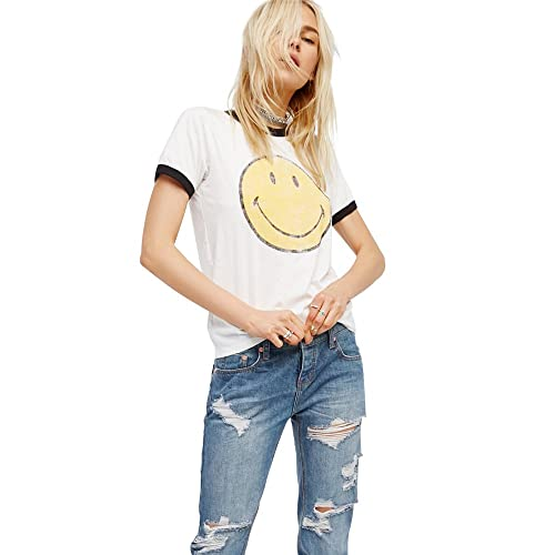 ca535019978 Emoji T Shirt Women Vintage White Funny Graphic Tumblr Cute Smiley Face Tees  Tops