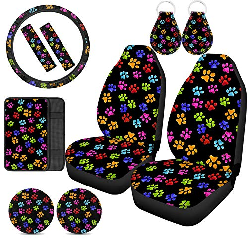 Xhuibop Dog Paw Print Car Seat Covers for Women Keychains Accessories Multicolor Steering Wheel Covers Universal Console Armrest Cover Pad Black Seat Belt Covers Vehicle Cup Holder Coasters