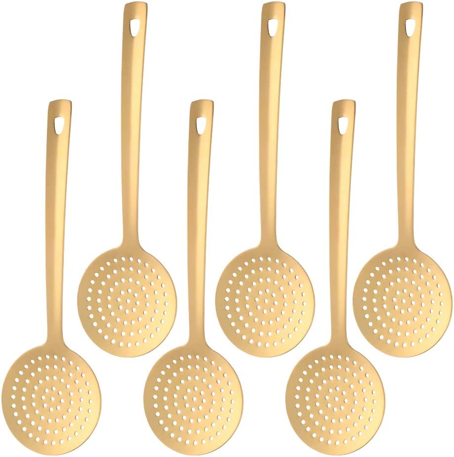 Skimmer Spoons Weekly update Set of 6 Steel Stainless Overseas parallel import regular item Slotted Dongbo