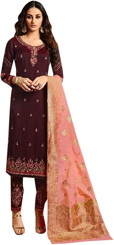 Beautiful Indian Muslim Silk Salwar Kameez Heavy Embroidery Ethnic Zari work Wine 7256