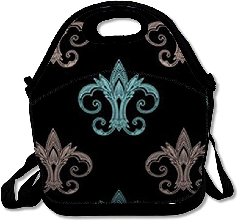 Lunch Bags For Women Men Insulated Blue Antique Fleur De Lis Abstract Art Pink Black Classic Elegance Floral Lunch Tote School For Child