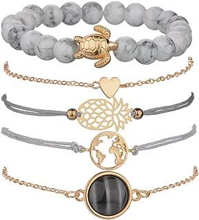 Boho Beaded Bracelets for Women Girls Adjustable Charm Stretch Stack Strand Bangle Bracelets Set