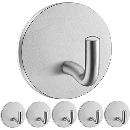 Self Adhesive Hooks Heavy Duty SonTiy Stainless Steel Wall Door Hooks Office Home Kitchen Bathroom Closet Sticky Hooks for Hanging Coats Towels Keys-Anti-Rust Waterproof, No Drill Glue Needed - 6 Pack