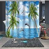 Chickwin Duschvorhang Anti-Schimmel und Wasserdicht, 3D Meer Strand & Ozeanwellen Drucken Duschvorhang mit 12 Duschvorhangringe für Badezimmer (150x180cm,D)