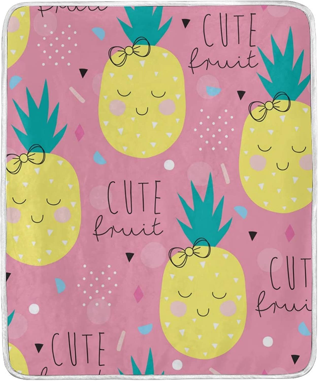 Cute Summer Fruit Pineapples Emoji Throw Blanket Soft Nap Couch Bed Blankets Kid Boy Girl Women Men 50x60 inch