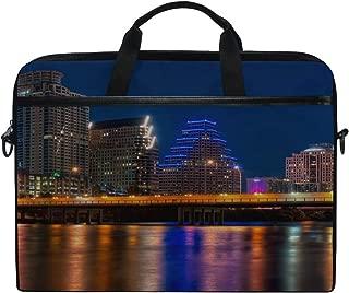 Rh Studio Laptop Bag Austin Texas Night Bridge Reflection Color Transfusion Laptop Shoulder Messenger Bag Case Sleeve for 14 Inch to 15.6 Inch with Adjustable Notebook Shoulder Strap