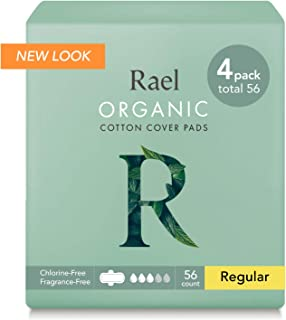 Rael 100% Organic Cotton Menstrual Regular Pads, Ultra Thin Natural Sanitary Napkins with Wings (56 Total), Pack of 4