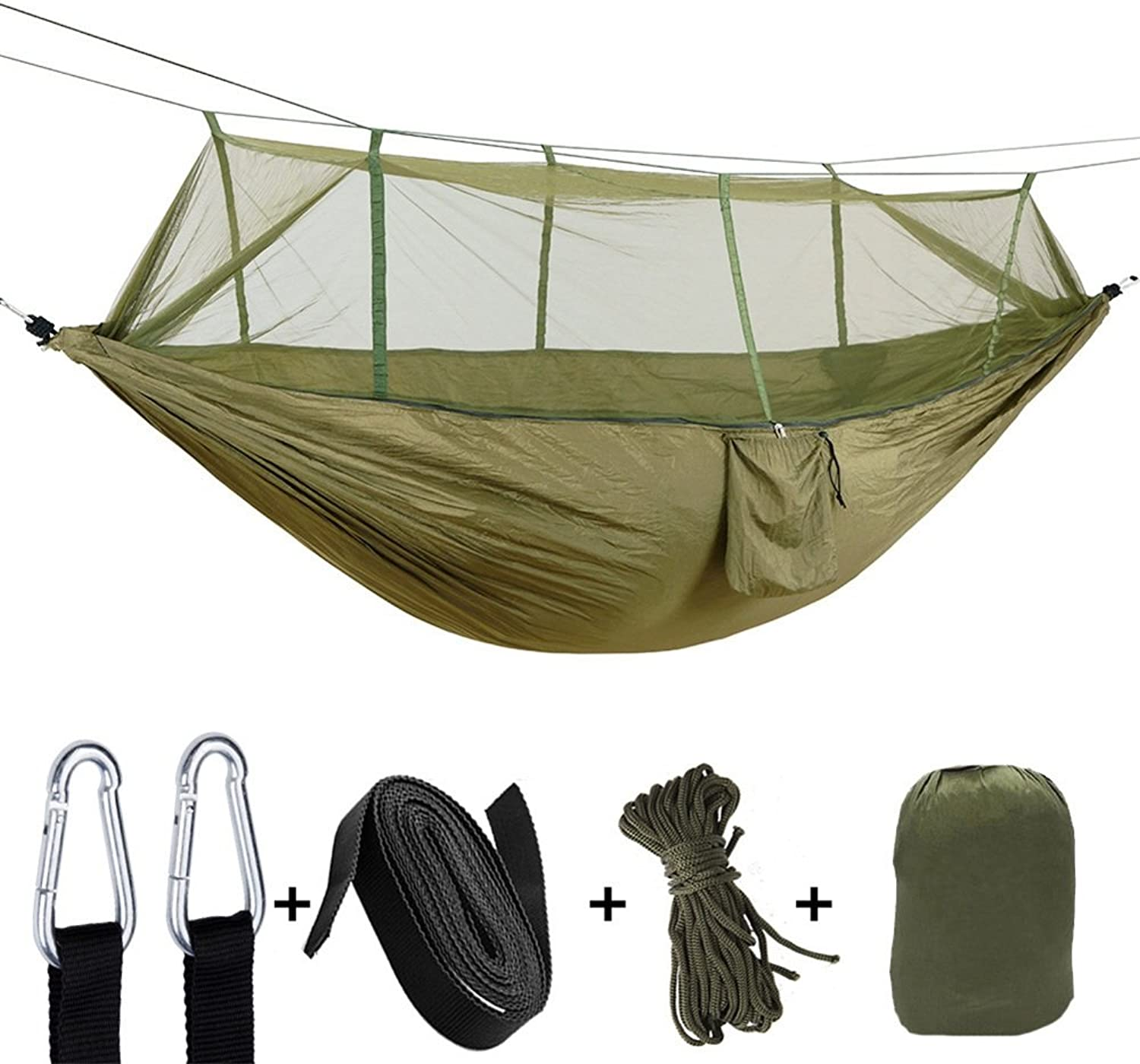 Hammock Tree Straps & Carabiners Easy Assembly Portable Parachute Nylon Hammock Single & Double Camping Hammock With Mosquito Bug Net For Camping, Backpacking, Survival, Travel & More with SpaceSavin