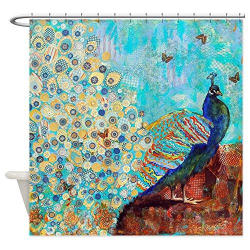 "CafePress Peacock Paparazzi Collage Bathroom Decorative Fabric Shower Curtain (69""x70"")"