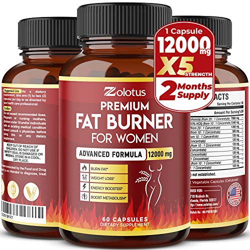 Premium Weight Loss Pills for Women, The Best Belly Fat Burners for Women and Men, Metabolism Booster, Energy Pills, Highest Potency with Green Tea Extract 98%, 2 Months Supply