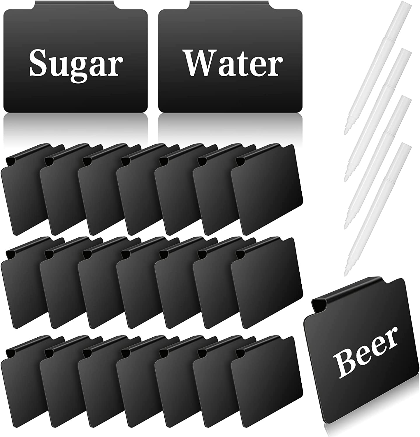 24 Pieces Basket Labels Holders for Storage Bins, Black Label Clips Kitchen Label Holders Pantry Removable Labels Clips Finish with 4 Pieces Erasable White Markers for Kitchen Pantry Supplies