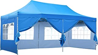 KOOLWOOM 10x20 FT Pop up Canopy Carport,Party Tent Folding Heavy Duty Gazebo with Removable Sidewalls and Wheeled Bag Waterproof (Blue with 6 Sidewalls)