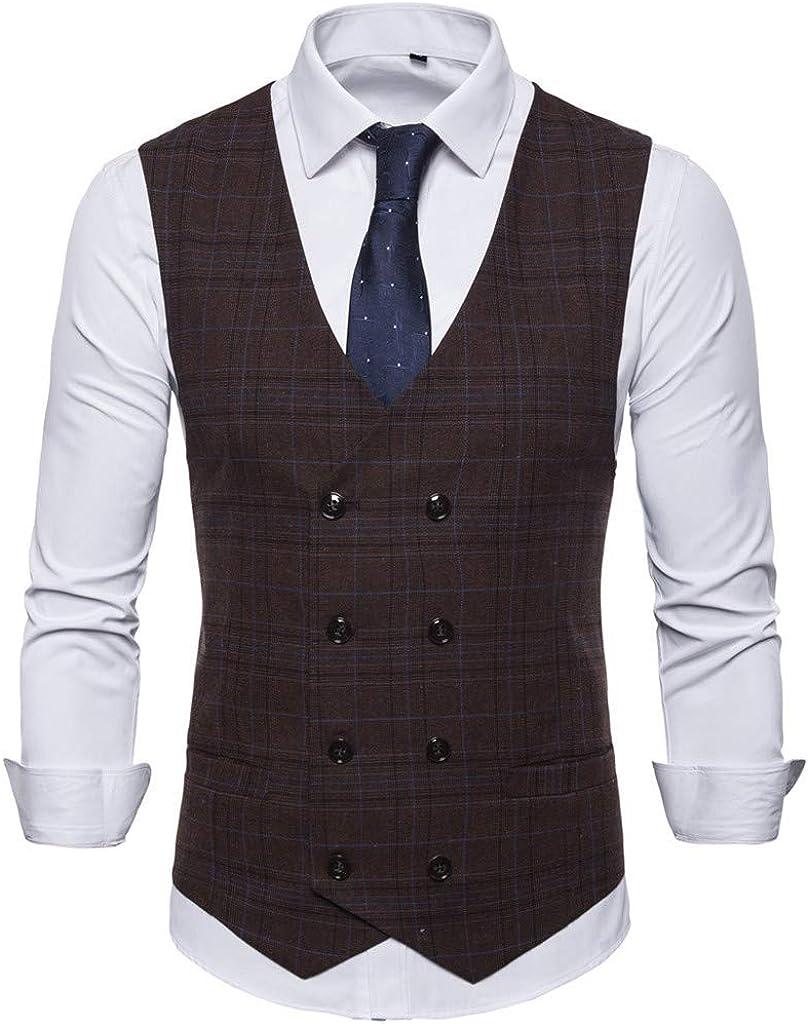 MODOQO Men's Suit Vest,Summer Simple Fashion Slim Fit Pure Color Tuxedo Waistcoat