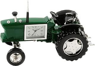Miniature Farmers Tractor Green Novelty Desktop Collectors Clock 9236G
